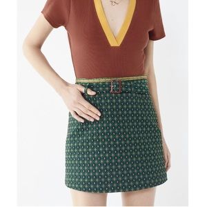 UO Peggy Jacquard Belted Mini Skirt